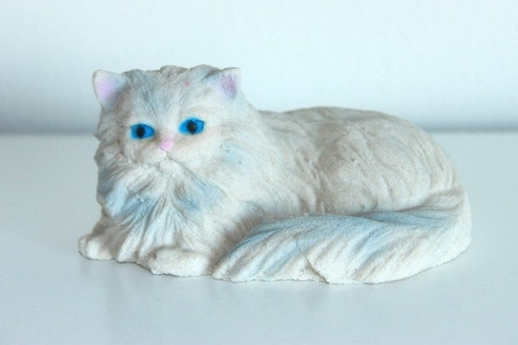 Vintage Persian Cat Figurine Cream and Blue Crazy Cat Lady Decor