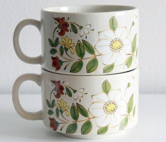 Vintage Soup Mugs Set of 2 Floral Hand Painted Soup Mugs Retro Brown Green Cream Mugs Japan Housewarming Gift