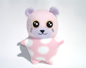 Plush hamster toy kawaii pink and white fleece with dots
