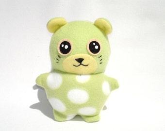 Plush hamster toy kawaii mint green polka dot fleece