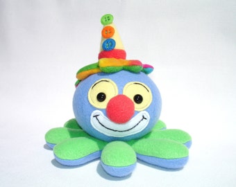 Plush clown octopus button hat and rainbow hair with blue and green fleece