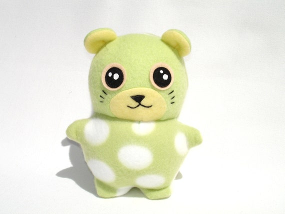 Plush hamster toy kawaii mint green polka dot fleece
