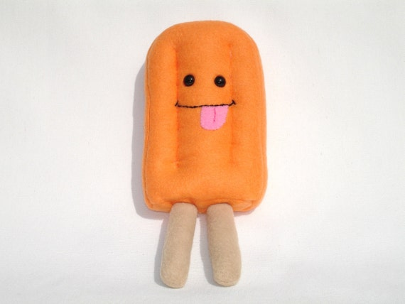 Plush popsicle toy in orange fleece, silly pretend food, orange creamsicle