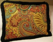 Accent Pillow Cover with Red, Gold, Blue, Chartreuse, Black Paisley Woven Jacquard and Brush Fringe Trim