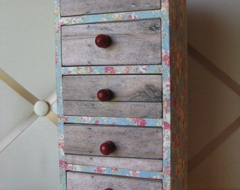 Made to Order Decoupaged Faded Blue Floral Wooden Jewelry Box Chest of Drawers with Crackled Red Accents
