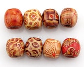 Wood Pillar Charms Bead Colorful Loose Beads Fit European Jewelry DIY.  Ships from Los Angeles Immediately.