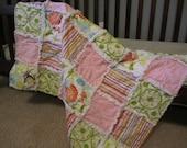 Baby Girl Rag Quilt Blanket Green Pink Yellow