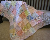 Baby Girl Rag Quilt, Crib Size Blanket Pink Purple Blue Green