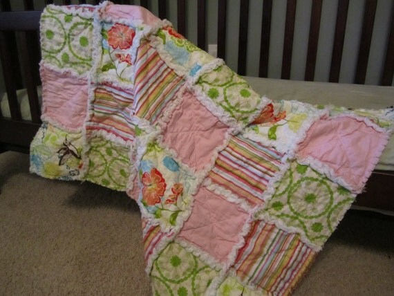 Baby Girl Rag Quilt Blanket Green Pink Yellow