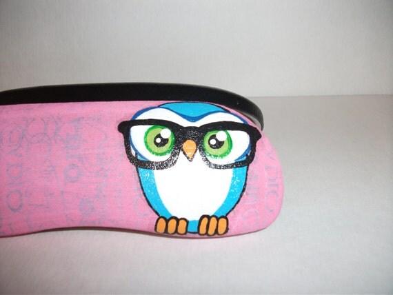 Owl Sportin Glasses Eyeglass Case and Harry Potter glasses and Scar eyeglass case--HandPainted