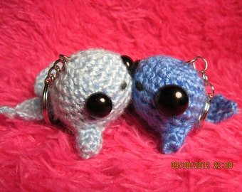 Two Tiny Whales Keychains (Crocheted)