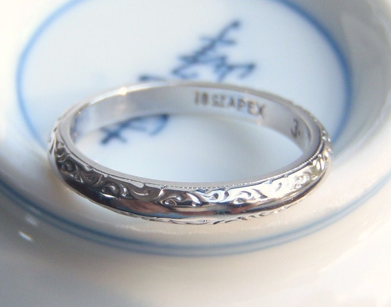 18 Ct White Gold Deco Wedding Band. So Very Elegant, Sentimental and Sweet. A True Heirloom.