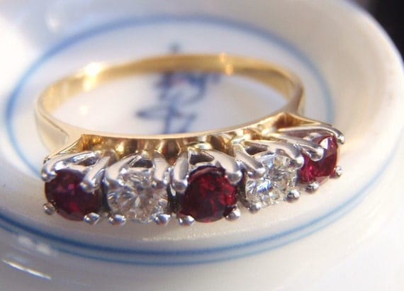 RESERVED for BRIDGET Genuine Rich Red Rubies and Brilliant Cut Diamonds. Quality Retro Vintage Ring with Attitude.