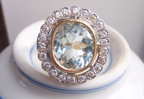 RESERVED for MICHELLE. Statement Piece. Stunning Big Pastel Blue Aquamarine & 22 Brilliant Cut Genuine Diamonds.