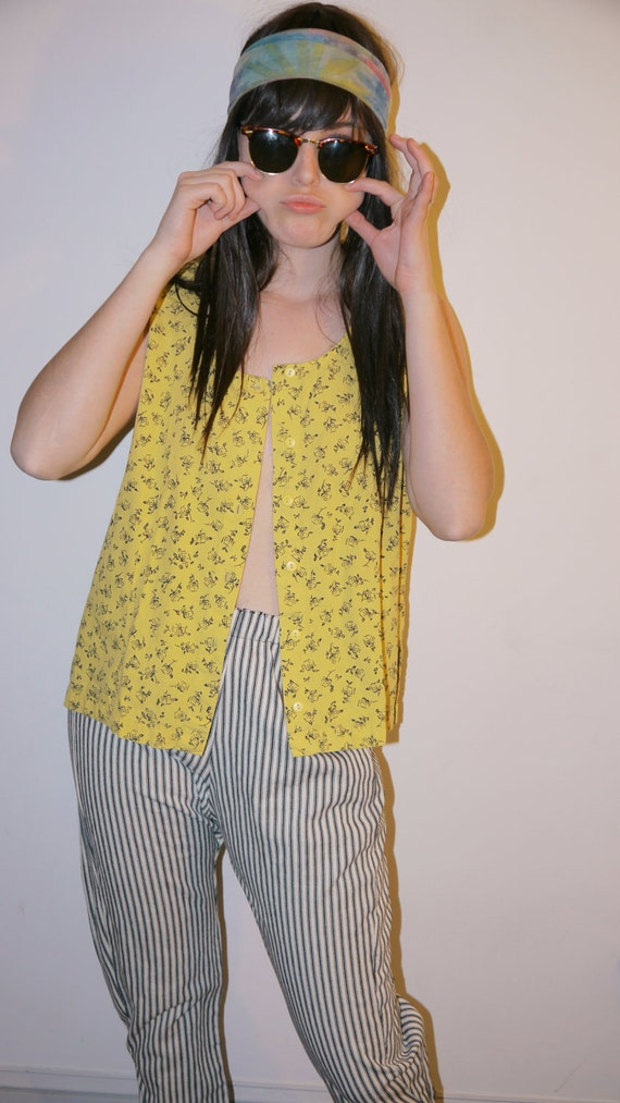 Vintage Yellow Button Up Tank Top