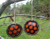 Recycled tin earrings- black and orange