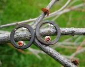 Steel earrings- posts with citrine