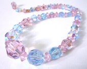 "Shimmering Austrian Crystal Necklace - AB Lilac & Sky Blue - Adjustable Length (14""-16.25"")"