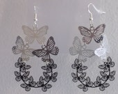Black and Silver Earrings BUTTERFLY CHARMS