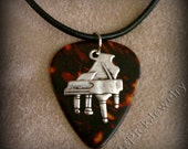 Piano on Faux Tortoise Shell Genuine Guitar Pick Necklace