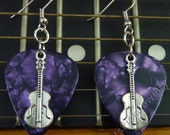 Guitar Charm on Purple Pearl/Pearloid Genuine Guitar Pick Earrings