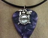 Drums/Drum Kit on Purple Pearl Genuine Guitar Pick Necklace