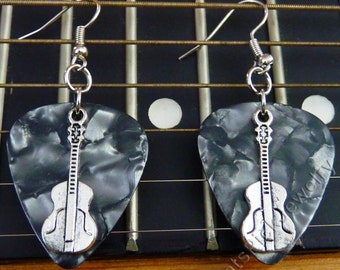 Guitars on Gray Pearl Genuine Guitar Pick Earrings