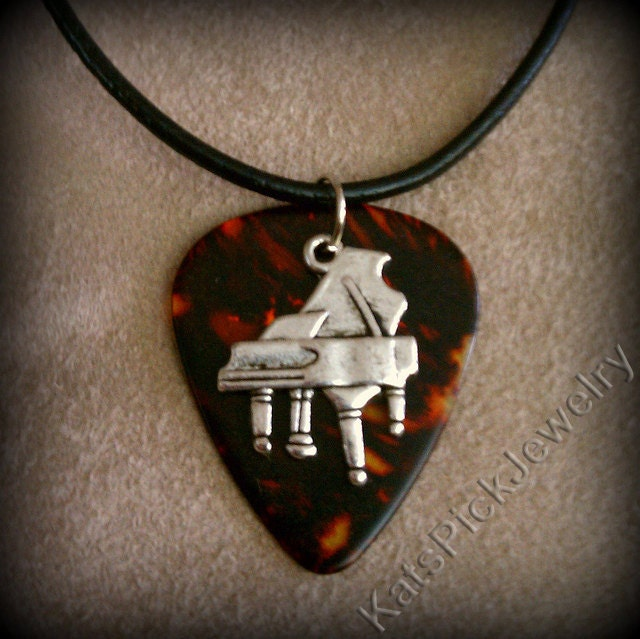 Piano on faux tortoise shell genuine guitar pick necklace for Real tortoise shell jewelry