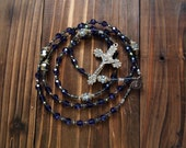 Violet Crystal Rosary with Solid Bronze Crucifix and Rosary Center
