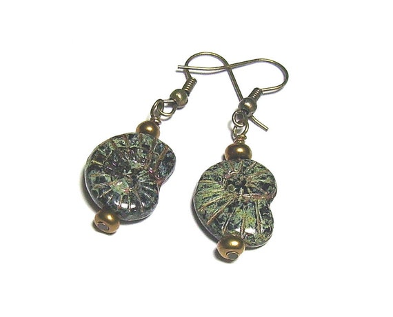 Fossil Beaded Earrings - Bronze and Patina Ammonite