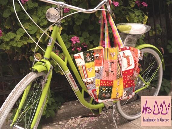 Doggy Dog Reversible Bike Basket Liner - Shopping Bag - 4 in 1