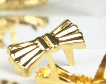 C-015 Little Bow  Studs /  50 pcs / size  0.8 cm. X 2 cm. / Color - Gold