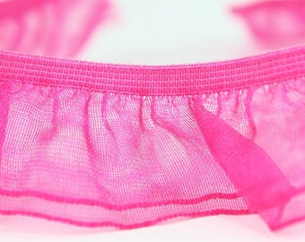 B-040  / 1 yard of  elastic Lace / Color : Deep Pink
