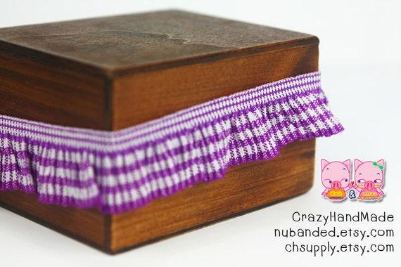 B-033  / 1 yard of  elastic Lace / Color : Purple