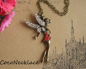 M179 wonderful antique bronze charming red/white fairy necklace 1pc 39x75mm
