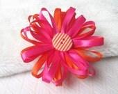 Ribbon Daisy Flower Pin, Floral Accessory, Wedding Corsage, Urban Daisy Design