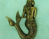 Large Mermaid Charm Pendant Stamping - Ox Brass 53 x 38 x2