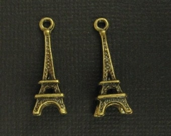 2 Little Eiffel Tower Charms -Antique Brass - 24mm