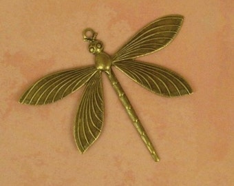 Large Antiqued Brass Dragonfly Pendant - Highly Detailed - 64/51mm