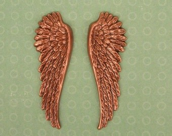 2 Large Wings Charm Stamping,  Angel Bird, Copper Plated  2 Inches