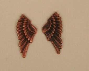 6 Little Copper Plated Bird Wings, Angel Wings  25mm  So Cute