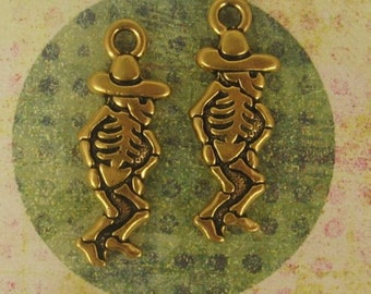 2 Dancing Senor Charms, Double Sided, Terracast, Gold Plated 28x10mm