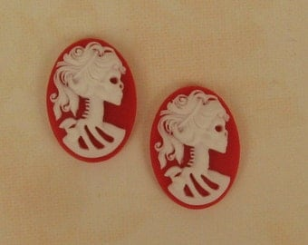 2 25x18mm Resin Lolita Day of the Dead Goddess - Amazing Detail