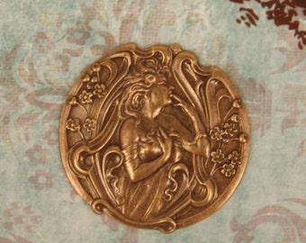 Art Nouveau  Forest Nymph, Jewelry Ornament, Goddess Woman Stamping, Ox Brass,  Alfonse Mucha, Mucha Jewelry, Artist Gift, X1
