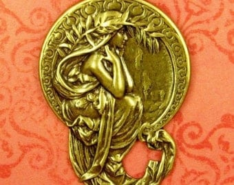 Art Nouveau Pendant, Stamping of a Maiden - Antique Brass 45x33mm, Impeccable Detail, Mucha Poetry, Artist Gift, Mucha Jewelry