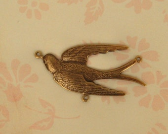 Ox Brass Connector, Shape of a Lovely Bird, Three Loops for Rhinestones, Pearls or Other Stones, 41x25mm, Third Loop on Breast of Bird  X1