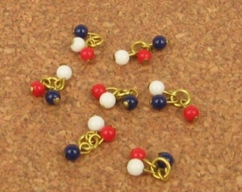 10 Glass 4mm Red, White, Blue Bead Clusters
