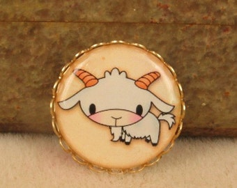 1 Resin Cameo Farm Babies - Goat - One Inch Brass Setting Adorable