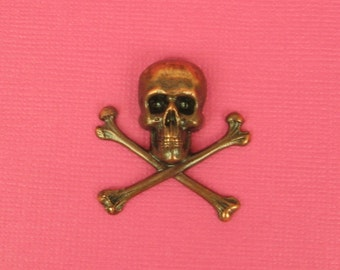 Skull and Crossbones Copper Plated Brass, 30x31mm,