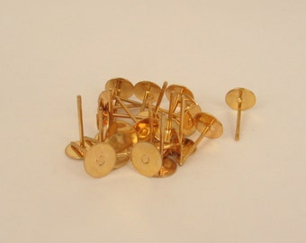 10 Gold Plated Ear Posts - 10mm